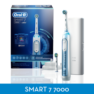 Oral-B Blue and white 7000 SmartSeries Bluetooth Electric Toothbrush with SmartGuide